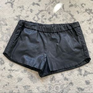ZARA Faux Leather Side Patterned Shorts Medium